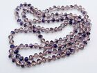 VINTAGE AMETHYST GLASS PURPLE FACETED VERY LONG FLAPPER LADIES NECKLACE
