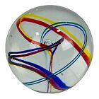 Glass Eye Studio Multicolor Spiral Glass Paperweight Signed GES 97 Rainbow