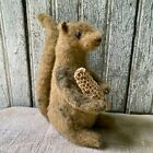Primitive Sam The Squirrel Grungy 6 Tall Hand Stitched Fall Shelf Sitter