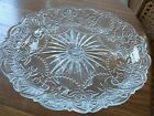 Extra Large Ornate heavy glass cake stand 14 inch 55 tall vintage pressed cut
