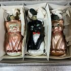 Vintage Christborn Blown Glass Kitty Cat Christmas Ornaments Set of 3 Germany
