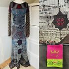 Save The Queen Red  Grey Maxi Dress Size M Mesh Applique Egyptian Musical Notes