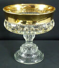 Indiana Glass Kings Crown Compote Candy Dish Gold Rimmed Flashing Thumbprint