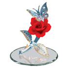 Glass Baron Butterfly Red Rose Figurine with Swarovski Crystal Accents