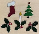Lot of 5 STAINED GLASS Solid Christmas Ornament Sun Catchers w Window Hooks