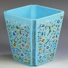 Antique French blue opaline glass square form Vase enamel flowers birds insects