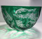 Ajka Design Guild Crystal Glass Large Bowl Green Cut To Clear 6 x 95 Diameter