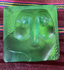Vintage Square Flat Vaseline Glass Owl Face Paperweight Green Yellow