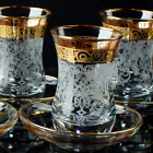Vintage Turkish Tea Glasses Cups Saucers Set of 6 for Party Women Serving Drinki