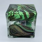 HQT Art Glass Handmade Solid Resin Cube Paperweight Multicolored 4T