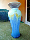 VANDERMARK SIGNED 11 BLUE PULLED FEATHER VASE w RED THREADED NECK CIRCA 1978