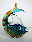 Murano blue  green glass fish with orange spiral Italy 60s 70s sculpture 2