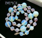VINTAGE Opalescent Two Tone Lilac Melon Art Glass Deco Beads NECKLACE GIFT