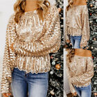Womens Sequin Long Sleeve T shirt Tops Ladies Casual LooseOff Shoulder Blouse