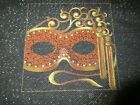 Hand Painted Needlepoint Canvas Leigh Designs CARNIVAL MASK COASTER IONA