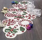 Red  White Peppermint Candy Cane Glass Beaded Handcrafted Table Runner New
