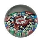 Vintage Concentric Hearts Millefiori Flowers Murano Art Glass Paperweight 2