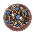 Vintage Concentric Blue Green Millefiori Flowers Murano Art Glass Paperweight 2