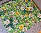 Vintage Green Daisy Gingham Fabric Cotton Woven Sold By The Yard