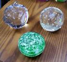 3 Vintage Glass Paperweight Apple Green  White Art  Controled Bubbles