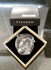 Signed STEUBEN Crystal Art Glass DOLPHIN Figurine Hand Cooler Paperweight  BOX