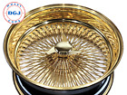 20s 2 Std 2 Rev 100 Spoke All Gold Lowrider Wire Wheel Rims With Gold KOs