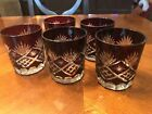 STUNNING 5 Ruby Red Cut to Clear AJKA Bohemian Czech Crystal Glass Whiskey