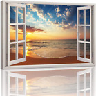 Beach Window Canvas Wall Art Poster of Window with View Sunset Ocean Picture