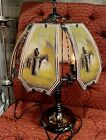Vtg 80s Touch Metal Lamp 6 Glass Panel With Native American Couple  Horse Rare