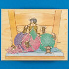 House Mouse Close Knit Family Rubber Stamp Stampabilities Knitting Yarn Kids
