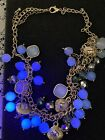 Estate Uranium Glass Gold Tone Chain With Adjustable Length Blue Beaded nice