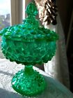 Fenton Emerald Green Hobnail Opalescent Candy Dish VERY RARE LARGE  STUNNING