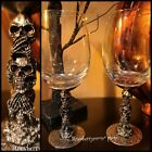 2 Spooky Halloween Gothic Metal Skeleton 3D Skull Stacked Wine Glass Goblets New