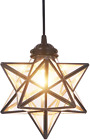 FUNME Copper Moravian Star Pendant Light with Clear Glass Ceiling Hanging Shade