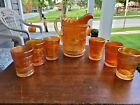 7 Piece Marigold Northwood Carnival Glass Peacock at The Fountain Water Set