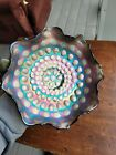 Fenton Carnival Glass Blue Coin Spot Bowl Awesome Color