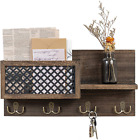 Dahey Wall Mounted Mail Holder Wooden Mail and Key Organizer with 4 Double