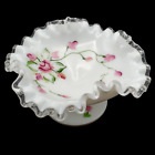 Fenton Silver Crest Roses Milk Glass Ruffled Footed Candy Dish Bowl Vintage 60s