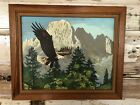 Vintage Paint by Number Eagle and Mountain Framed Finished Painting