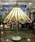 Vintage TIffany Style Stained Glass Tree Trunk Table Lamp 175 Tall 72 lbs