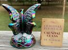 1970 Fenton Butterfly on Stand Vintage Amethyst Original Carnival Glass Rare