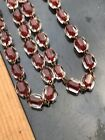 VTG Red Clear Cased Glass Flapper Bead Necklace Art Deco Bohemian Czech