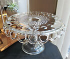 Vintage McKee Plymouth Thumbprint Glass Pedestal Cake Stand Open Lace w Rum Well