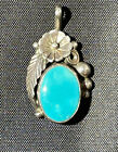 Vintage Southwest Sterling Silver Oval Turquoise Petite Pendant