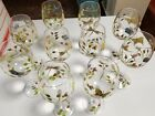 10 LENOX Crystal BUTTERFLY MEADOW Hand Painted Wine Glasses Ladybugs Flowers