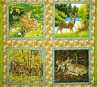 NATURE'S WALK cotton fabric PANEL QUILT BLOCKS deer doe fawn buck