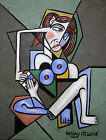NUDE WOMAN WITH RUBIK'S CUBE ORIGINAL CUBIST LADY ART PAINTING  ANTHONY FALBO
