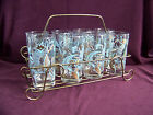 Lot of 8 robin blue gold fruit glass tumblers with metal stand rack GUC