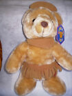 INDIAN BEAR PLUSH KELLYTOY 2002 MANUFACTURED BY KUDDLE ME TOYS-NWT-#7573-