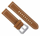 24MM BUFFALO LEATHER WATCH BAND STRAP FOR BREITLING NAVITIMER BENTLEY L/BROWN WS